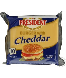 President Burger Processed Cheese W Cheddar 10SL